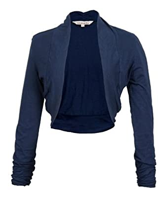 Organic Navy Blue Short Cardigan with Stylish Ruched Sleeves (10 ...