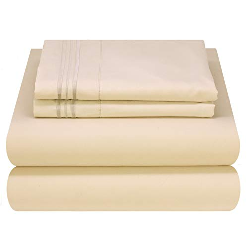Mezzati Luxury Bed Sheet Set - Soft and Comfortable 1800 Prestige Collection - Brushed Microfiber Bedding (Beige, King Size) (King Size Bed Sheet And Comforter Sets)