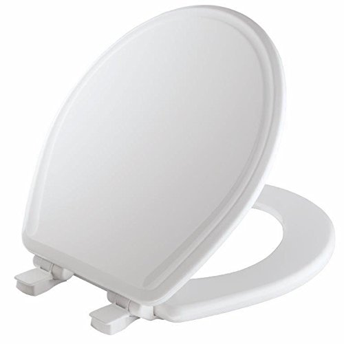 (Mayfair 48SLOWA 000/848SLOWA 000 Molded Wood Toilet Seat featuring Whisper-Close, Easy Clean & Change Hinges and STA-TITE Seat Fastening System, Round, White)