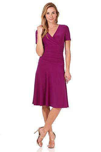 (Rekucci Women's Slimming Short Sleeve Fit-N-Flare Crossover Tummy Control Dress (6,Magenta) )