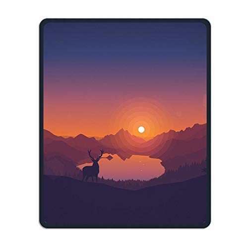 Natural Mountain Lake Portable Gaming Mouse Pad Comfortable Non-Slip Base Durable Stitched Edges 7.08 X 8.66 Inch, 3mm Thick