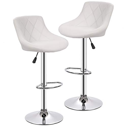 BestMassage PU Leather Bar Stools Modern Swivel Dinning Kitchen Chair, Set of 2 ()