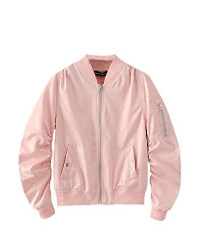 Manica Giacca Cerniera Cappotto Grazioso Jacket Biker Con Donna Coreana Pilot Bomber Moda Autunno Elegante Monocromo Corto Stlie Alta Pink Collo Di Lunga Vita rHr78q