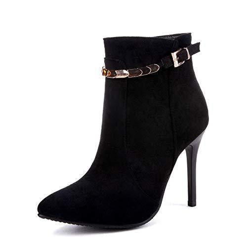 HOESCZS 2019 Mode Frauen Stiefeletten Plattform Reißverschluss Spitz Dünne High Heel Winterstiefel Frauen Stiefel Große Größe 34-43