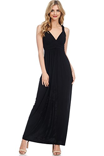 Solid Racer Back Maxi Dress with Bra Cups (Black-L) (Flat Only Black Cup)