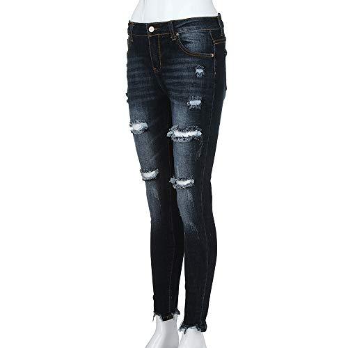 Pantalones Up Cintura Mujer Negro Skinny Denim Vaqueros Jeans 65YY8q