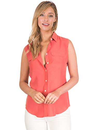 CAMIXA Womens 100% Silk Blouses Ladies Shirt Casual Pocket Button up Elegant Top M Coral Sleeveless