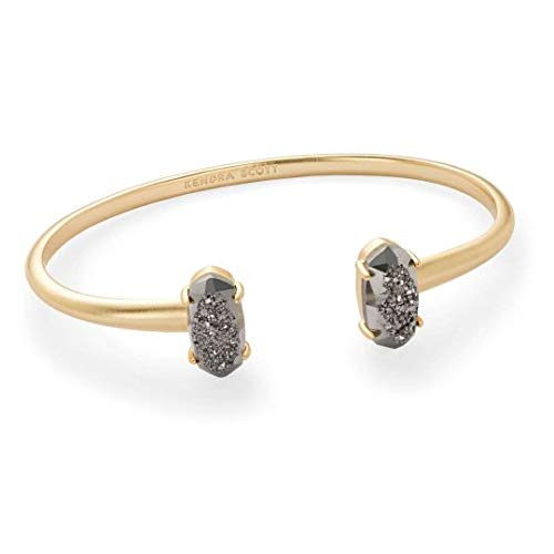 Kendra Scott Edie Cuff Bangle Bracelet in Platinum Drusy & Gold