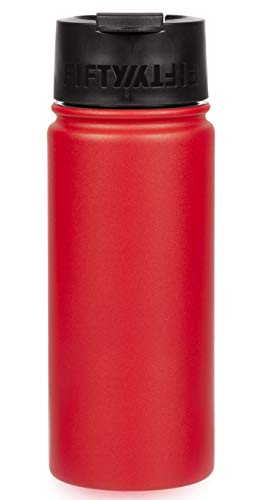 Fifty/Fifty 16oz, Double Wall Vacuum Insulated Café Water Bottle, Stainless Steel, Flip Cap w/ Wide Mouth, Cherry Red, 16oz/473ml