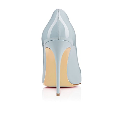 Toe Heels Col Classiche elashe Scarpe Tacco Tacco da Donna 10cm Col Blu Scarpe Round Scarpe 7qaf7wF