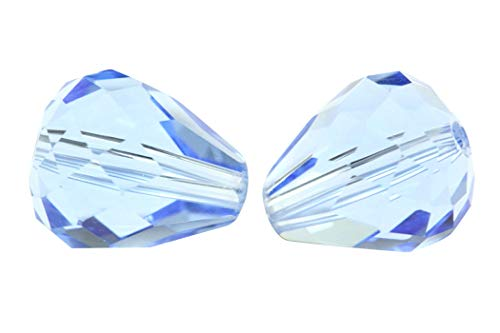 50pcs 8x6mm Adabele Austrian Teardrop Crystal Beads Light Sapphire Compatible with 5500 Swarovski Crystals Preciosa SST-814 (8mm Light Sapphire Swarovski Crystal)