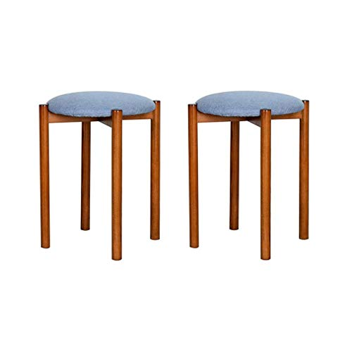 Wondrous Amazon Com Ycsd Pack Of 2Solid Wood Fabric Padded Stool Gmtry Best Dining Table And Chair Ideas Images Gmtryco