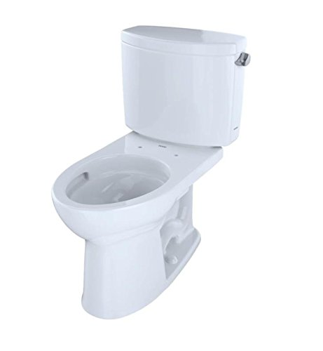 Toto CST454CEFRGNo.01 Drake II Elongated Two-piece Toilet with Sanagloss and Right-hand Trip Lever, Cotton (Elongated Two Sanagloss Toilet Piece)