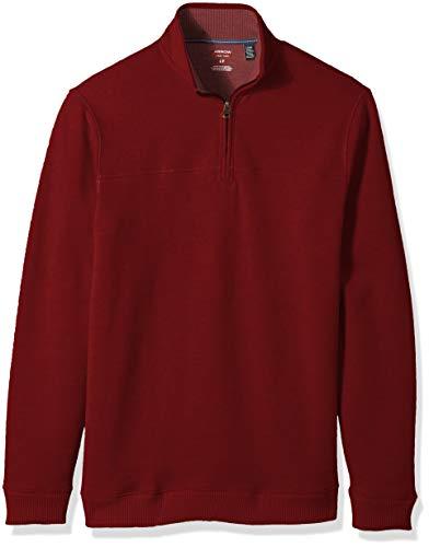 Arrow 1851 Men's Big and Tall Saranac Long Sleeve 1/4 Zip Sueded Fleece Pullover, Tawny Port Heather, Large (1/4 Zip Sueded Sweatshirt)