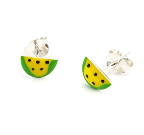 Gymnast Angel Pins (925 Sterling Silver Earrings Enamel Watermelon (1 Pair))