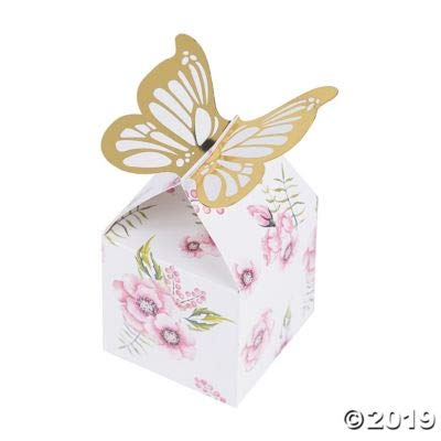 BUTTERFLY FLORAL FAVOR BOX (24 PCS) - Party Supplies - 24 Pieces: Toys & Games