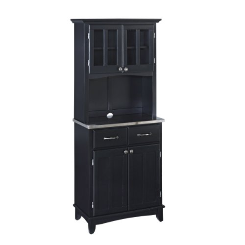 Home Styles 5001-0043-42 Buffet of Buffet 5001 Series Stainless Top Buffet Server and Hutch, Black, 29-1/4-Inch - Hutch Plus Storage