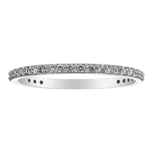 (Olivia Paris 14k White Gold Diamond Eternity Wedding Band Ring for Women (1/3 cttw, H-I, SI1-SI2) Size 6)