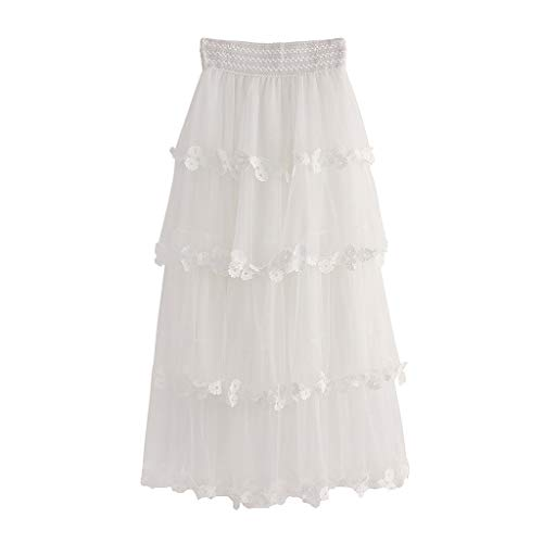 Psunrise Women High Waist Ruffle Mesh Tutu Sheer Net Tulle Pleated Ankle Length Petticoats Wedding Maxi Skirt Falda (Free Size, White)