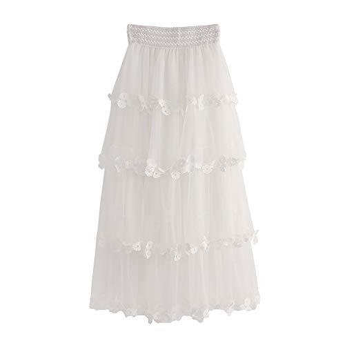 (Psunrise Women High Waist Ruffle Mesh Tutu Sheer Net Tulle Pleated Ankle Length Petticoats Wedding Maxi Skirt Falda (Free Size, White))