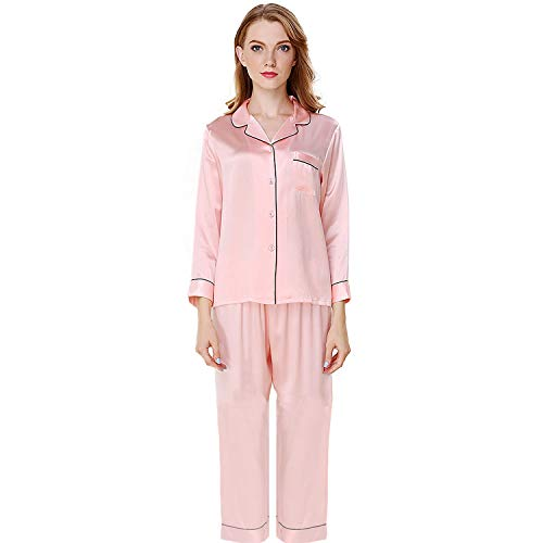 (NANJUN Women's Satin Pajamas Sleepwear Long Button-Down Pj Set(Pink,l0))