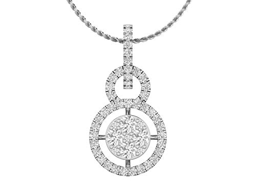 14K White Gold 1/2 Carat (H-I Color,SI2-I1 Clarity) Natural Diamond Large Halo Cluster Pendant Necklace with 18