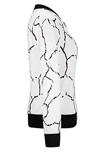 Di Donna Giaccone Outdoor Lunga Eleganti Accogliente Tempo Primaverile Haidean Libero Moda Semplice Glamorous Outerwear Con Cappotto Whitee Giacca Stampate Autunno Cerniera Baseball Manica 41Zq557w