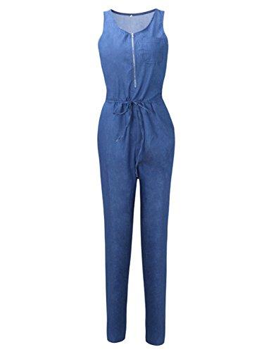Pantaloni Festa Con Cerniera Sexy Vita Quotidiana Maniche Sciolto Tuta Senza Somthron Blu Estate Donna Jeans Pantalone Casual Lunghi wzHq1ACfx