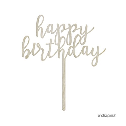 Andaz Press Birthday Wood Cake Toppers, Happy Birthday, 1-Pack, Decor Decorations by Andaz Press (Image #2)