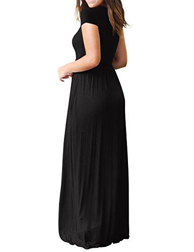 Short Pockets Sleeves Long Maxi Dress Women's Loose Bridal Plain Black Bess Dress EwXv0qx6n