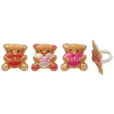 Valentine's Day Teddy Bear Hearts Cupcake Rings - 24 ct