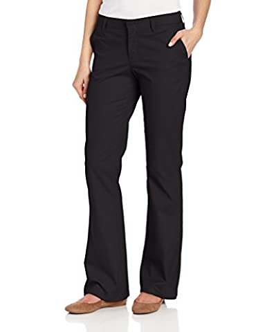 Dickies Women's Flat Front Stretch Twill Pant, Black, 4 Long - Dickies Tall Pants