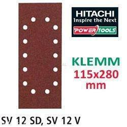 Hitachi–753074papier abrasif pour ponceuse orbitale 115x 280mm Grain 100à clipser (10)