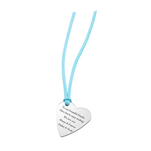 (PiercingJ Personalized Custom Inspirational Gift Stainless Steel Bookmarks 33mm Love Heart Dog Tag with Blue Rope Page Holder Book Paper Marker Bookworms Stationery Graduation)