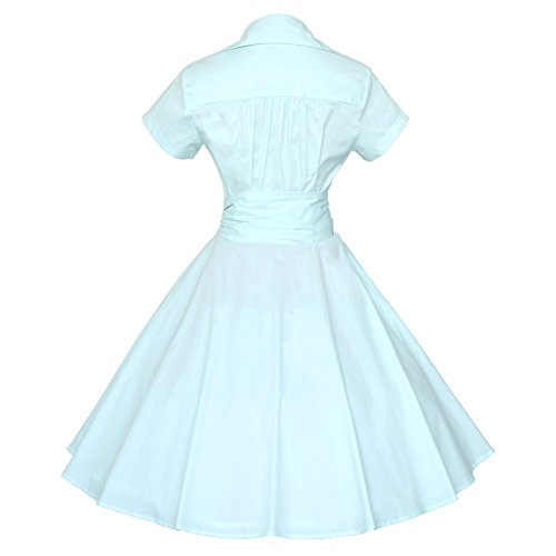 Tang Mint Short Sleeves Party Ball 50s Dress Rockabilly 60s Maggie Swing Vintage Blue UOxpqUd