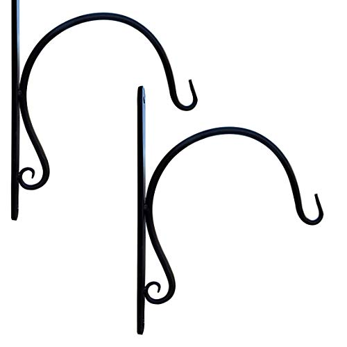 Gray Bunny GB-6912BL2 Modern Cast Iron Wall Hook, Set of 2, Black Curved Hooks for Bird Feeders, Planters, Lanterns, Wind Chimes, As Wall Brackets and More!