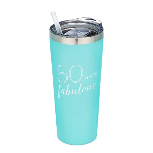 50 Years Fabulous | 22 oz MINT Insulated Tumbler with Lid and Straw - 50th Birthday Gift for Her | Friend | Coworker | Sister | Sister in Law | Mom | Mother in Law (50 Birthday Gifts For Women)