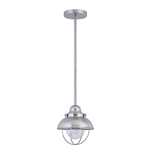 Sea Gull Lighting 6150-98 Sebring One-Light Outdoor Mini-Pendant with Clear Seeded Glass, Brushed Stainless Finish