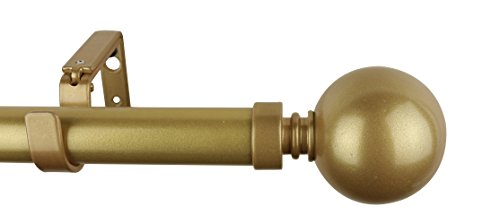 Meriville 1-Inch Diameter Ball Single Window Treatment Curtain Rod, 28-Inch to 48-Inch, Gold