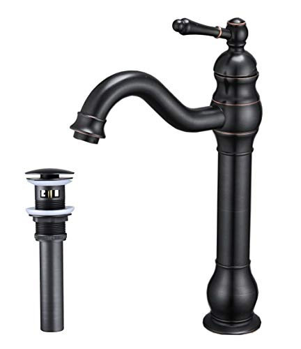 - Bathfinesse Oil Rubbed Bronze Bathroom Vessel Sink Faucet Commercial Single Handle One Hole Deck Mount Mixer Tap With cUPC Supply Lines and Matching Pop Up Drain With Overflow