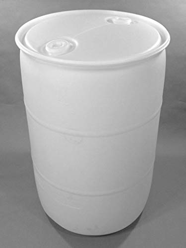 (55 Gallon White Plastic Barrel - Perfect for Water or Liquids.)