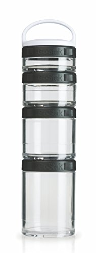 BlenderBottle C00301 GoStak Twist n' Lock Storage Jars 4-Piece Starter Pak Black