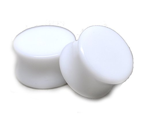 "Mystic Metals Body Jewelry White Acrylic Plugs - 1 1/2"" - 38mm - Sold As a Pair"