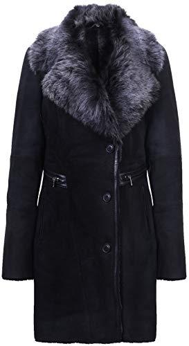 - Infnity Leather Women's Black Brissa Suede Merino Sheepskin Suede Coat Toscana Collar 2XL