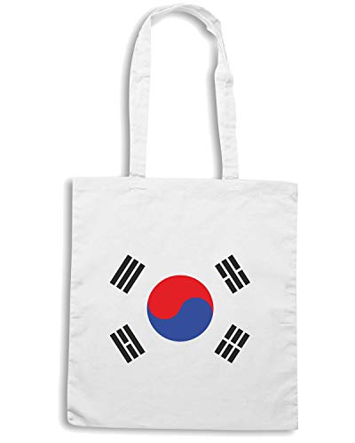 KOREA Shirt TM0205 Borsa FLAG Shopper Bianca Speed CWgX4xwUqX