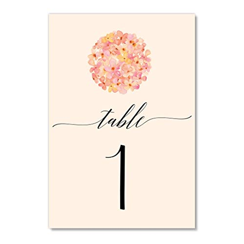 Floral Ball Table Numbers 25 Pack Reserved Banquet Seat Dainty Pink & Peach Single Sided 4