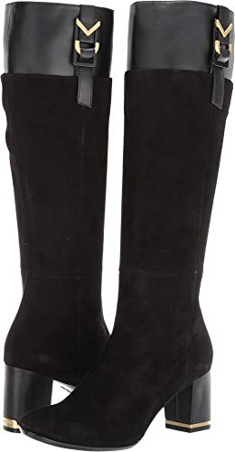 Calvin Klein Women's Candace Knee High Boot, Black Suede/Leather, 6.5 M US