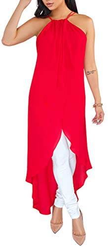 Women's Casual Chiffon Dovetail Hem Blouse Sexy Halter Neck Backless Flowy Long T-Shirt Dress Adjustable Straps Tunic Tops Comfy Loose Outfits for Party Club ()