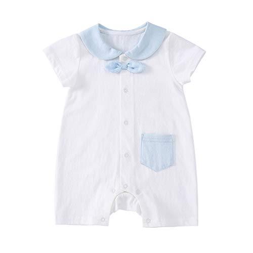 - pureborn Baby Boy Cotton Gentleman Bowtie Short Sleeve Romper Onesies Blue 0-3 Months