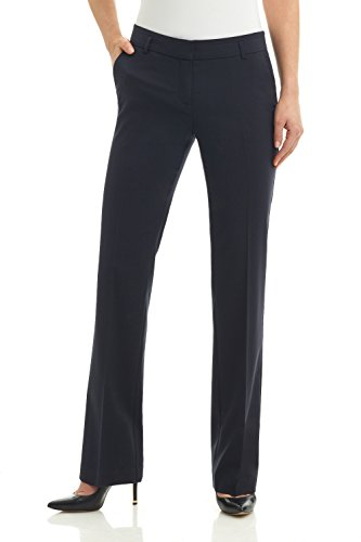 Rekucci Collection Women's Straight Leg Dress Pant with Double Loops (10,Navy)